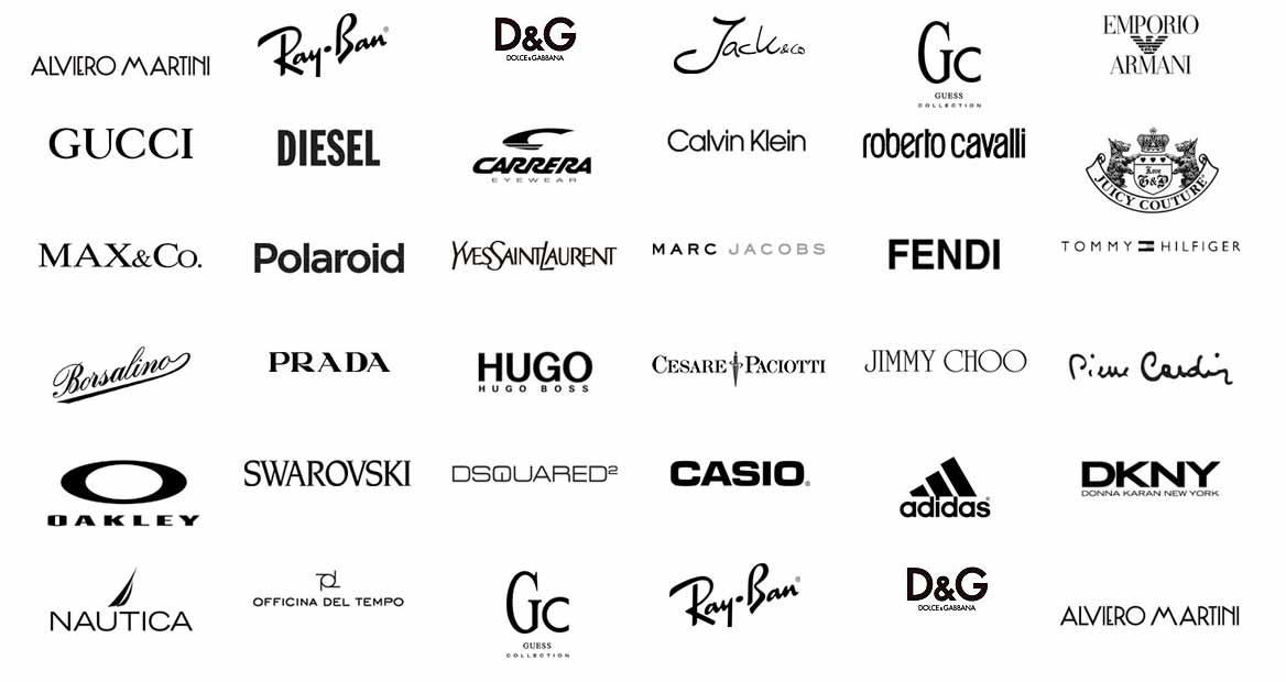 Alviero Martini, RayBan, D&G, Gucci, Diesel, Polaroid, Prada, Adidas, Fendi e tanti altri